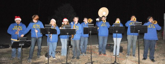The Jordan-Matthews High School band entertained guests at the Central Carolina Community College Christmas Tree Lighting celebration at the Siler City Center.