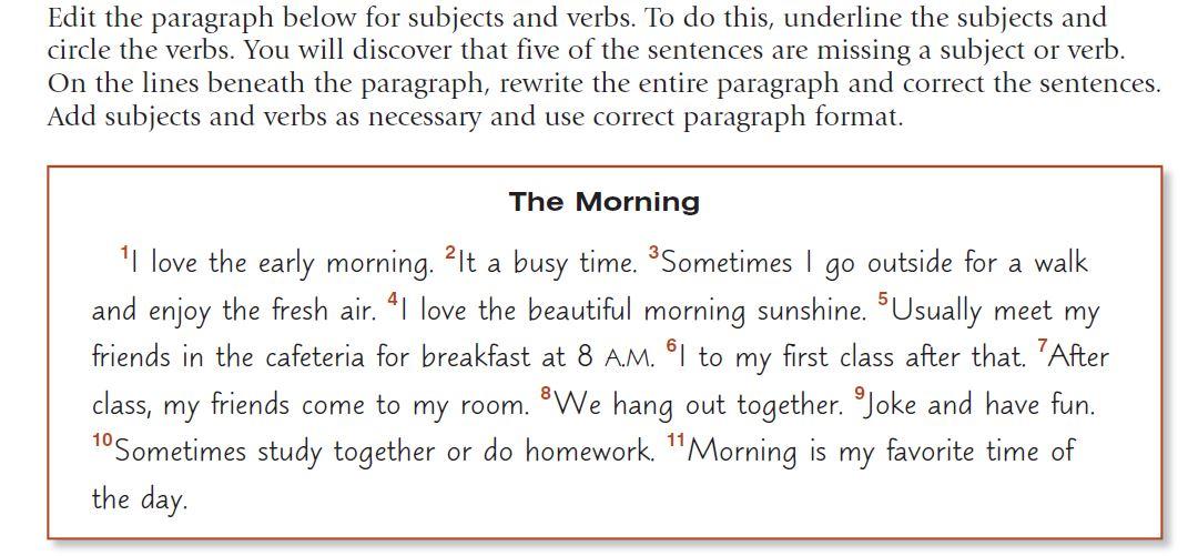 english paragraph