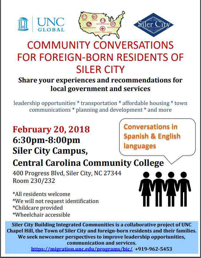 COMMUNITY CONVERSATIONS FOR FOREIGN-BORN RESIDENTS OF SILER CITY