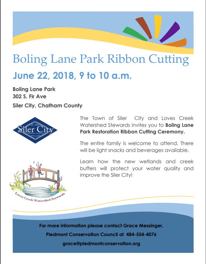 Boling Lane Park Ribbon Cutting in SilerCity