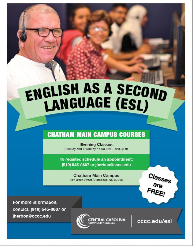 ESL Classes at The Pittsboro MainCampus