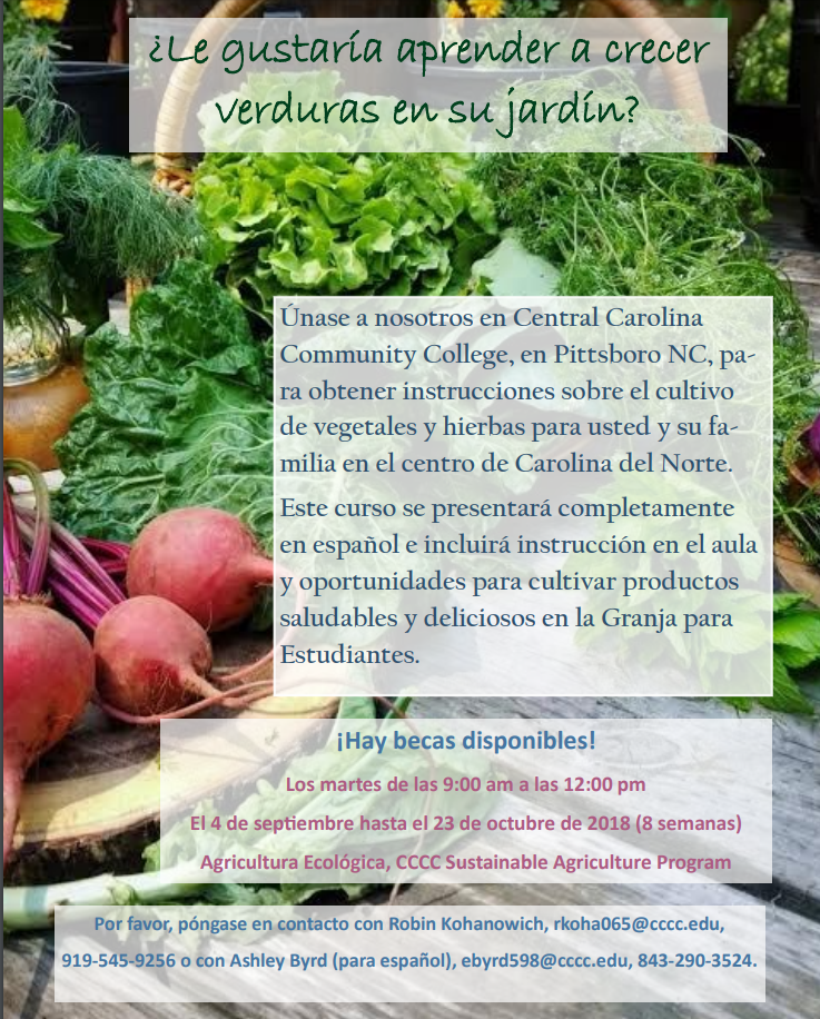Programa de Agricultura Sustentable en CCCCPittsboro